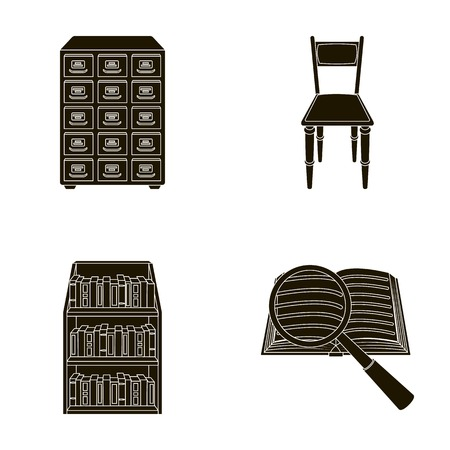 Cabinet with filing cabinet, chair, shelves, information search. Library and bookstore set collection icons in black style vector symbol stock illustration web.