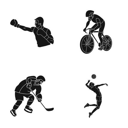 Cycling, boxing, ice hockey, volleyball.Olympic sport set collection icons in black style vector symbol stock illustration web.