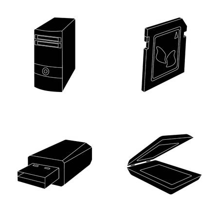A system unit, a flash drive, a scanner and a SD card. Personal computer set collection icons in black style vector symbol stock illustration web. Иллюстрация