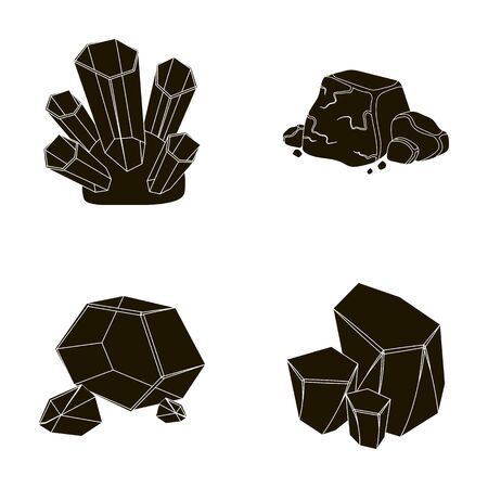 Crystals, iron ore. Precious minerals and a jeweler set collection icons in black style vector symbol stock illustration web.