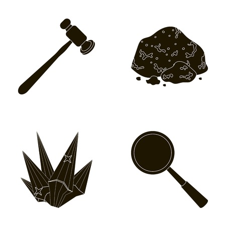 A jeweler s hammer, a magnifier, a copper ore, a crystal. Precious minerals and a jeweler set collection icons in black style vector symbol stock illustration web.