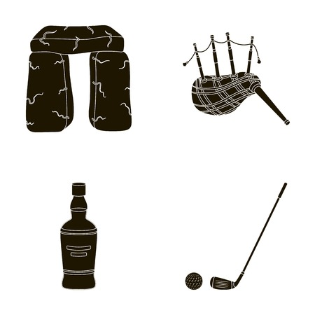 country kitchen: Stone monument, bagpipe, whiskey, golf. Scotland country set collection icons in black style vector symbol stock illustration web.