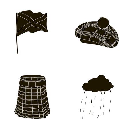 country kitchen: Flag, kilt, rainy weather, cap.Scotland country set collection icons in black style vector symbol stock illustration web.