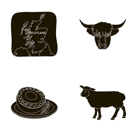 Territory on the map, bulls head, cow, eggs. Scotland country set collection icons in black style vector symbol stock illustration web.