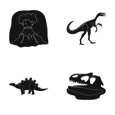 Volcanic eruption, gallimimus, stegosaurus,dinosaur skull. Dinosaur and prehistoric period set collection icons in black style vector symbol stock illustration web.