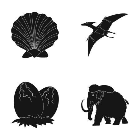 Prehistoric shell, dinosaur eggs,pterodactyl, mammoth. Dinosaur and prehistoric period set collection icons in black style vector symbol stock illustration web. Illustration