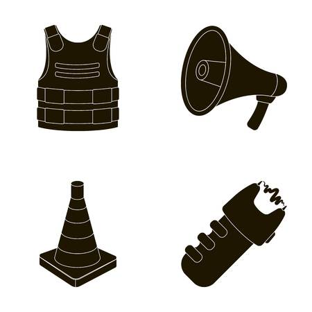 Bulletproof vest, megaphone, cone of fencing, electric shock. Police set collection icons in black style vector symbol stock illustration web.