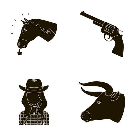 toros bravos: Head of a horse, a bulls head, a revolver, a cowboy girl. Rodeo set collection icons in black style vector symbol stock illustration web.