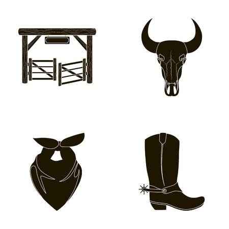 Gates, a bulls skull, a scarf around his neck, boots with spurs. Rodeo set collection icons in black style vector symbol stock illustration web.