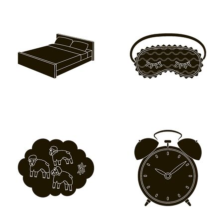 A bed, a blindfold, counting rams, an alarm clock. Rest and sleep set collection icons in black style vector symbol stock illustration web.