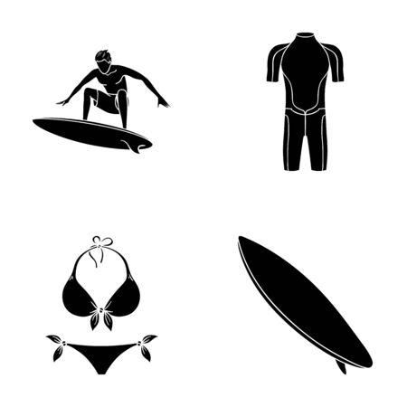 Surfer, wetsuit, bikini, surfboard. Surfing set collection icons in black style vector symbol stock illustration web. Illustration