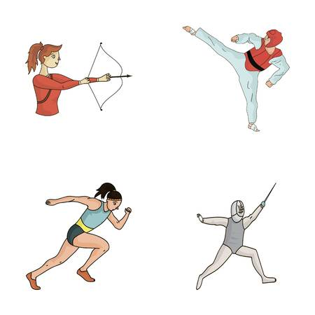 Archery, karate, running, fencing.  sport set collection icons in cartoon style vector symbol stock illustration web. Ilustração
