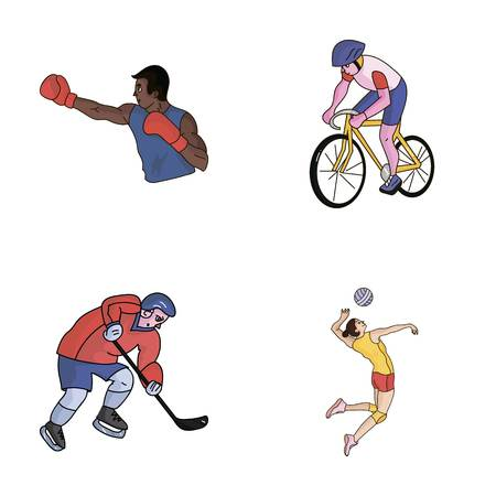 Cycling, boxing, ice hockey, volleyball. sport set collection icons in cartoon style vector symbol stock illustration web. Illustration