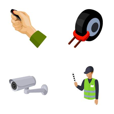 Car alarm, wheel rim, security camera, parking assistant. Parking zone set collection icons in cartoon style vector symbol stock illustration web. Illustration