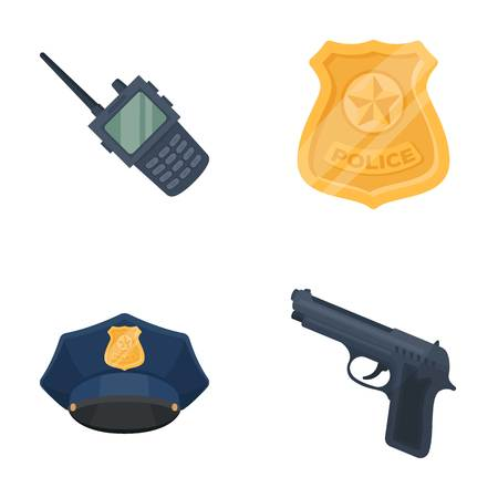 Radio, police officer s badge, uniform cap, pistol.Police set collection icons in cartoon style vector symbol stock illustration web.