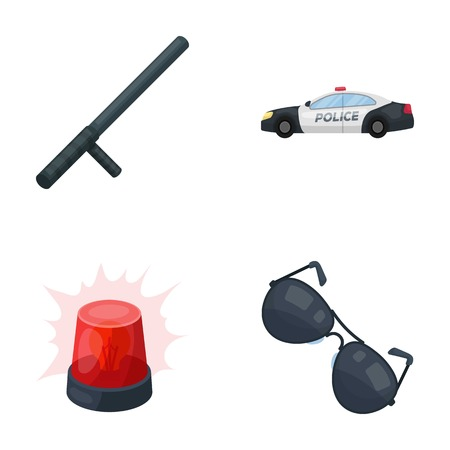 baton: Police baton, auto, flasher, glasses.Police set collection icons in cartoon style vector symbol stock illustration web.