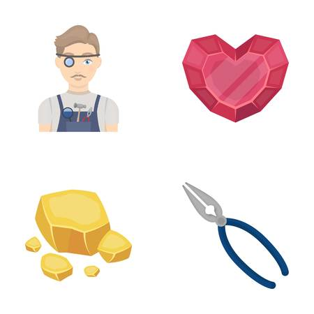 Jeweler, pliers, gold ore, garnet in the form of heart. Precious minerals and jeweler set collection icons in cartoon style vector symbol stock illustration web. Illustration