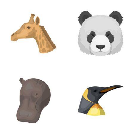 behemoth: Panda, giraffe, hippopotamus, penguin, Realistic animals set collection icons in cartoon style vector symbol stock illustration web. Illustration