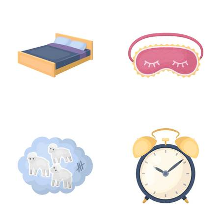A bed, a blindfold, counting rams, an alarm clock. Rest and sleep set collection icons in cartoon style vector symbol stock illustration web.