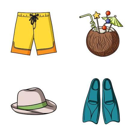 Badehose, Cocktail mit Kokosnuss, Panama und Flossen. Surfende gesetzte Sammlungsikonen im Karikaturartvektorsymbolvorrat-Illustrationsnetz.