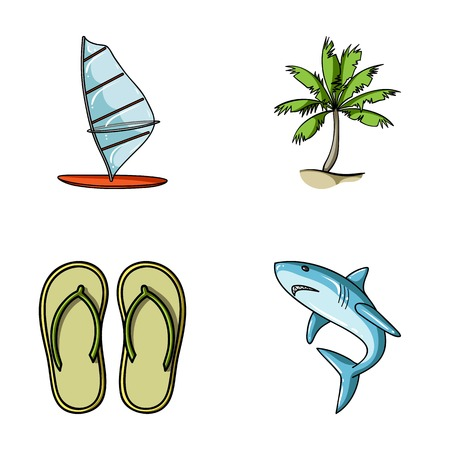 Board with a sail, a palm tree on the shore, slippers, a white shark. Surfing set collection icons in cartoon style vector symbol stock illustration web. Illustration