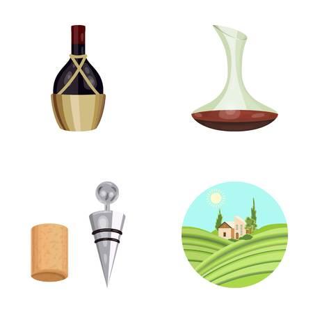 Een fles wijn in een mand, een gafine, een kurkentrekker met een kurk, een druivenvallei. Wijnproductie set collectie iconen in cartoon stijl vector symbool stock illustratie web.
