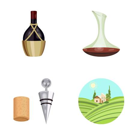 A bottle of wine in a basket, a gafine, a corkscrew with a cork, a grape valley. Wine production set collection icons in cartoon style vector symbol stock illustration web.