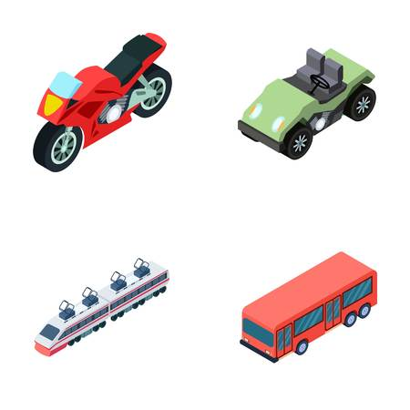 electric train: Motorcycle, golf cart, train, bus. Transport set collection icons in cartoon style vector symbol stock illustration web.