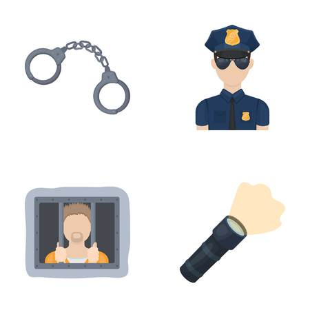 Police set collection icons in cartoon style vector symbol stock illustration