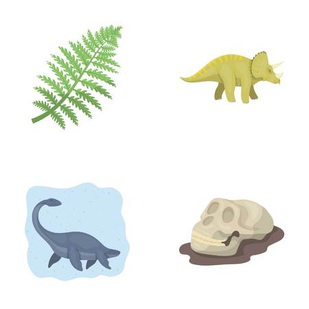 Sea dinosaur,triceratops, prehistoric plant, human skull. Dinosaur and prehistoric period set collection icons in cartoon style vector symbol stock illustration web.