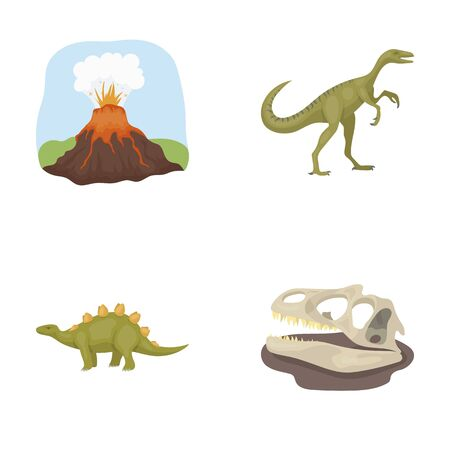 Dinosaur and prehistoric period set collection icons in cartoon style vector symbol stock illustration
