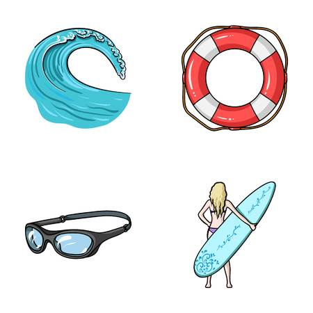 Oncoming wave, life ring, goggles, girl surfing. Surfing set collection icons in cartoon style vector symbol stock illustration web. Illustration