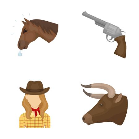Head of a horse, a bulls head, a revolver, a cowboy girl. Rodeo set collection icons in cartoon style vector symbol stock illustration web.