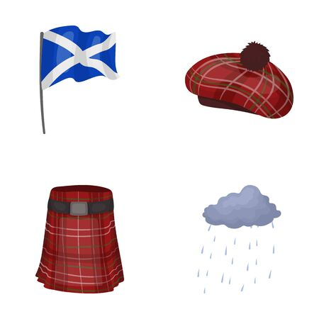 country kitchen: Flag, kilt, rainy weather, cap.Scotland country set collection icons in cartoon style vector symbol stock illustration web.