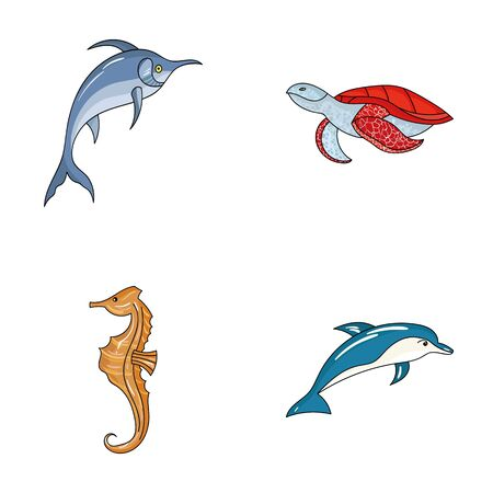 Merlin, turtle and other species.Sea animals set collection icons in cartoon style vector symbol stock illustration web.