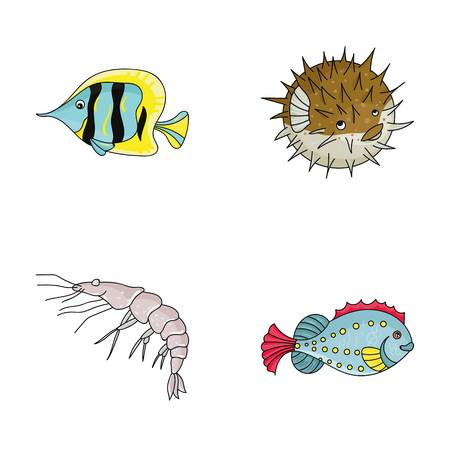 Shrimp, fish, hedgehog and other species.Sea animals set collection icons in cartoon style vector symbol stock illustration web.