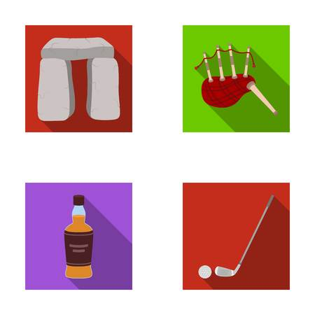 Stone monument, bagpipe, whiskey, golf. Scotland country set collection icons in flat style vector symbol stock illustration web.