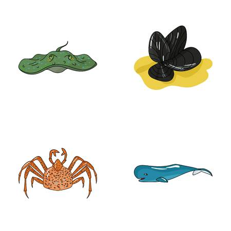 Electric ramp, mussels, crab, sperm whale.Sea animals set collection icons in cartoon style vector symbol stock illustration web.