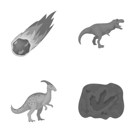Een vallende meteoriet, parasaurolophus, tyrannosaurus, een afdruk van de voet van een dinosaurus. De dinosaurus en de voorhistorische inzameling van de periode vastgestelde inzameling in het zwart-wit Web van de de voorraadillustratie van het stijl vectorsymbool.