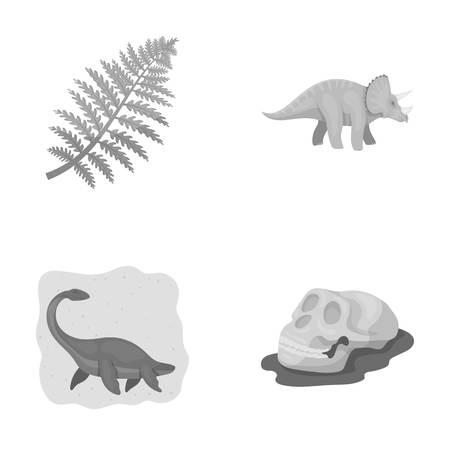 Sea dinosaur,triceratops, prehistoric plant, human skull. Dinosaur and prehistoric period set collection icons in monochrome style vector symbol stock illustration web.
