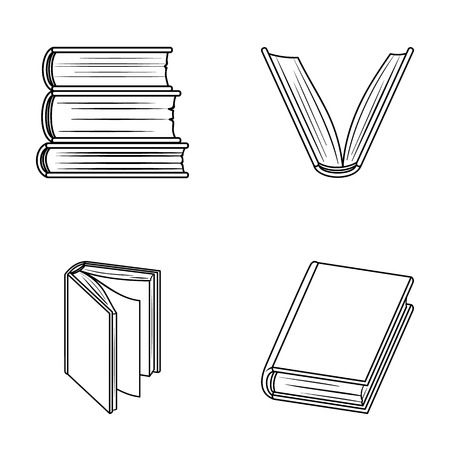 Various kinds of books. Books set collection icons in outline style vector symbol stock illustration web. Illustration