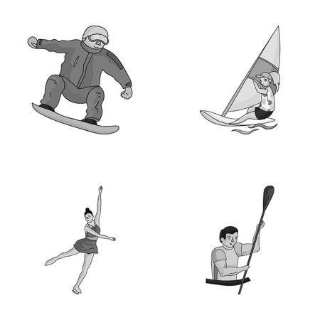 Snowboarding, sailing surfing, figure skating, kayaking. sports set collection icons in monochrome style vector symbol stock illustration web. Illustration
