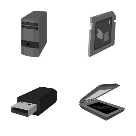 A system unit, a flash drive, a scanner and a SD card. Personal computer set collection icons in monochrome style vector symbol stock illustration web.