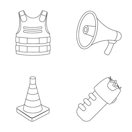 Bulletproof vest, megaphone, cone of fencing, electric shock. Police set collection icons in outline style vector symbol stock illustration web.