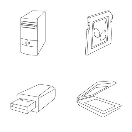 A system unit, a flash drive, a scanner and a SD card. Personal computer set collection icons in outline style vector symbol stock illustration web. Иллюстрация