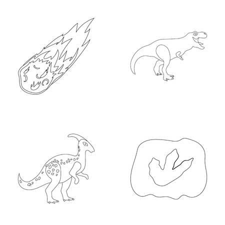 Een vallende meteoriet, parasaurolophus, tyrannosaurus, een afdruk van de voet van een dinosaurus. De dinosaurus en de voorhistorische inzameling van de periode vastgestelde inzameling in van de het symboolvoorraad van de overzichtsstijl vector de illustratieweb.