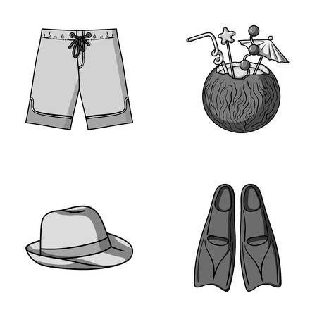Swimming trunks, cocktail with coconut, panama and flippers. Surfing set collection icons in monochrome style vector symbol stock illustration web.