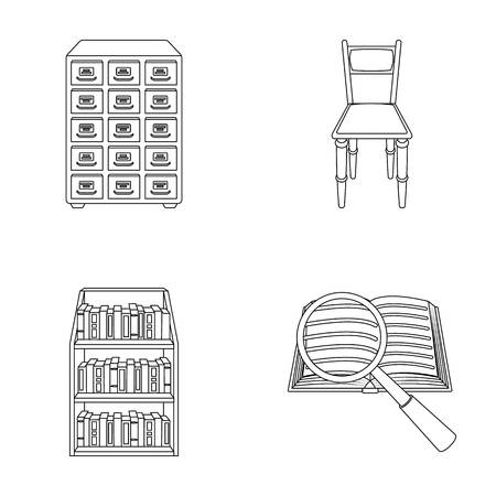 Cabinet with filing cabinet, chair, shelves, information search. Library and bookstore set collection icons in outline style vector symbol stock illustration web.