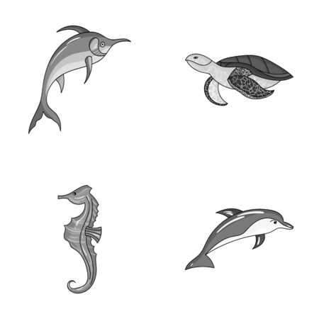 Merlin, turtle and other species.Sea animals set collection icons in monochrome style vector symbol stock illustration web. Illustration