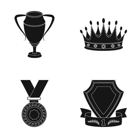 laureate: A silver cup, a gold crown with diamonds, a medal of the laureate, a gold sign with a red ribbon.Awards and trophies set collection icons in black style vector symbol stock illustration web.
